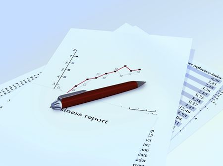 business report papers with pencil photo