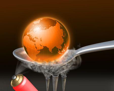 earth globe heated  in the spoon photo