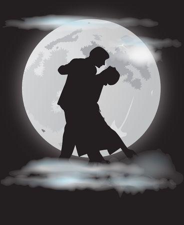 tangoing: romantic couple dancing tango