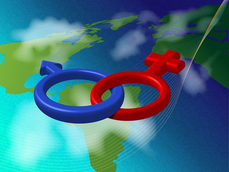 illustration of man-woman relationship in the world Stock Photo - 6254536