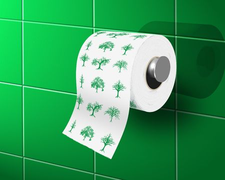 toilette: toilette paper with with ecological theme