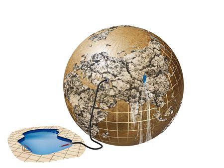 mundo contaminado: Ilustración de los problemas con el agua en la tierra