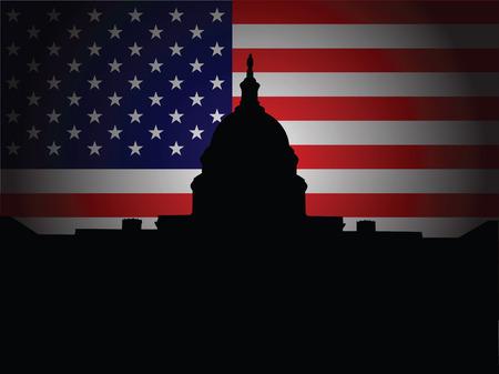 george washington: Silueta del Capitolio con la bandera de Estados Unidos en segundo plano Vectores