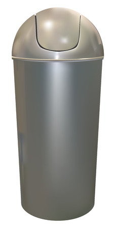 trash container: aluminum trash can on white background Illustration