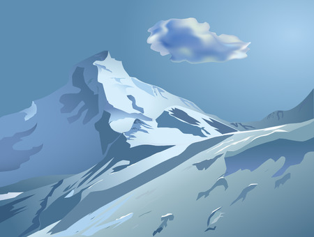 snow mountain peak: Vector snowy mountains with blue sky and cloud