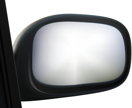 reflection in mirror: car side mirror on white background Illustration