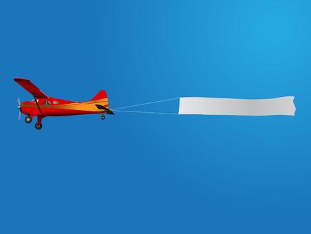 retro plane pulling banner on blue sky Vector