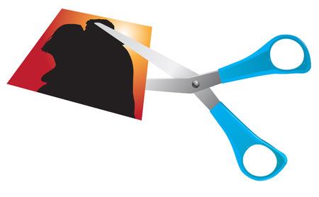 breakup: scissors cutting romantic couple picture