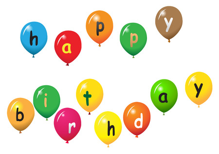 birthday wishes: various baloons with letters