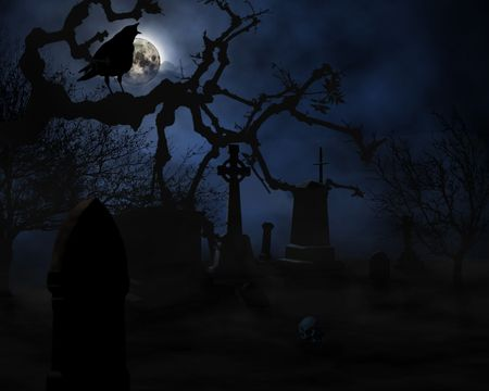 cemeteries: scarry night sceen on graveyard illustration