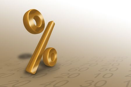 golden percent with numbers in background Stock Photo - 6266255