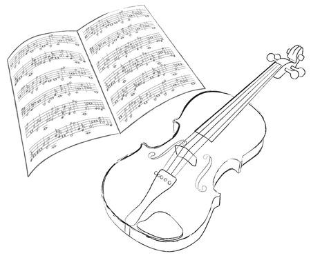 violas: vector violin sketch on white background Illustration