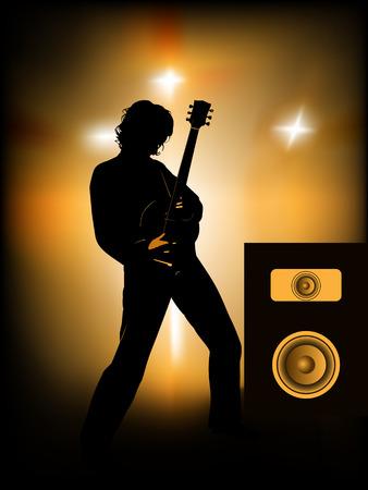 venue: Silhouette di chitarrista sul palco  Vettoriali
