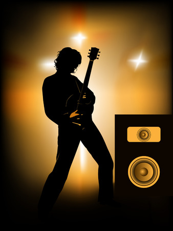 silhouette of guitar player on stage Vector