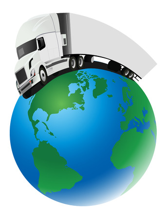 import trade: truck distorted around globe Illustration