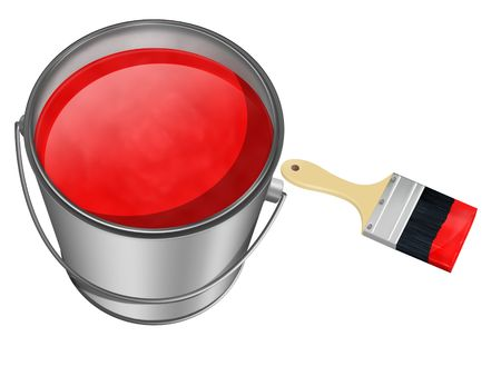 paintbucket: paint can and brush on white background Stock Photo
