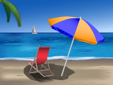 tropical beach with umbrella and deck chair Illustration