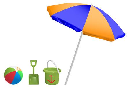 umbrellas: vector beach toys and umbrella