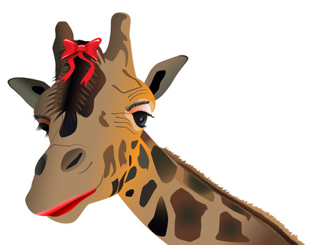 lady giraffe with make up and bow Vector