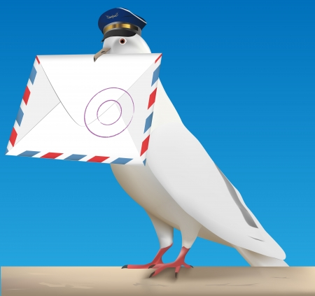 white carrier pigeon with pilot cap and letter