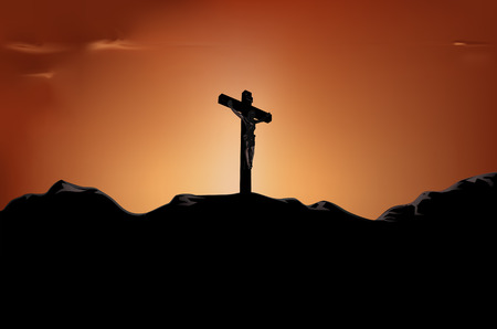 calvary: crucified Jesus on cross in the sunset Illustration