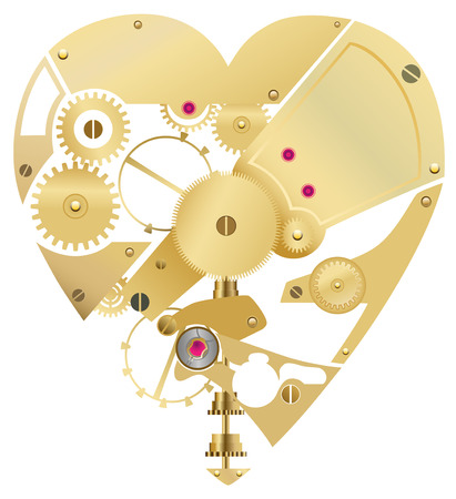 heart shaped cog gears  Illustration