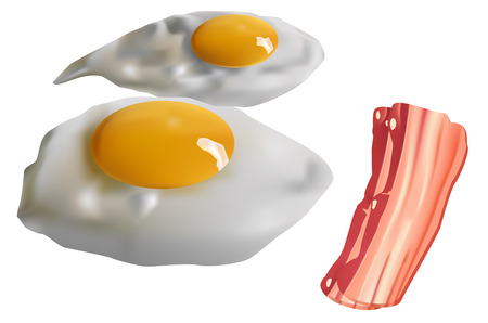 eggs and bacon: two fried eggs and bacon