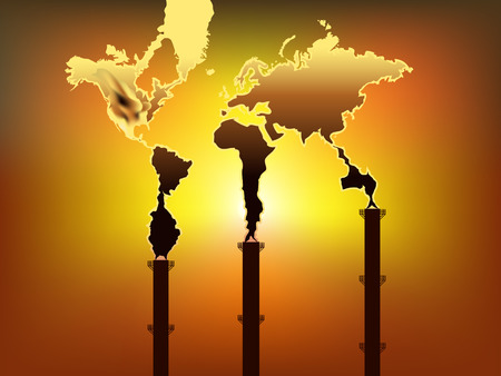 world map shaped smoke rise form factory chimney Vector
