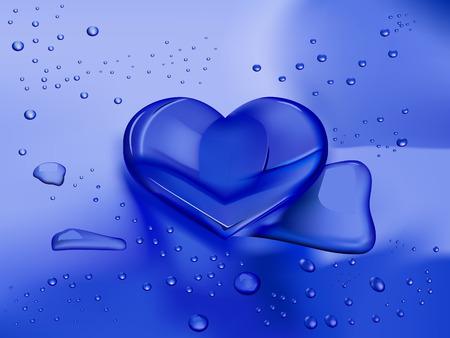 corazones azules: coraz�n en forma de gota de agua sobre fondo azul h�medo