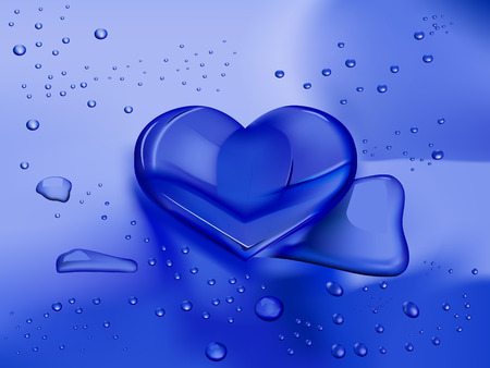 shiny hearts: heart shaped water drop on wet blue background