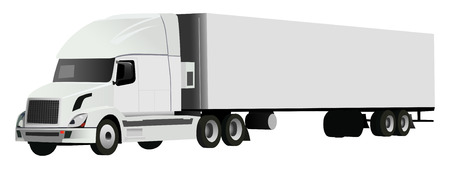 truck with trailer on white background