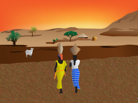 African women  carrying water to the village Stock Vector - 6636954