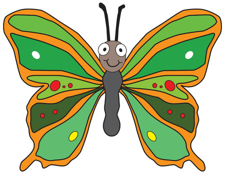 fly cartoon: cute cartoon butterfly on white background