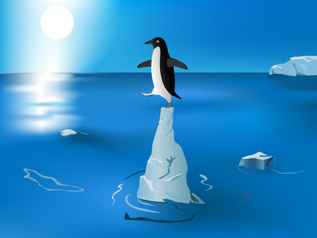warming: confused penguin on standing the piece of iceberg