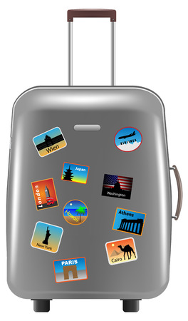travelling: silver metallic suitcase on white background