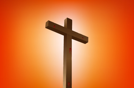 almighty: empty cross with blood stains illustration