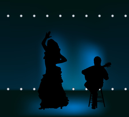 flamenco dress: man and woman performing flamenco on stage Illustration