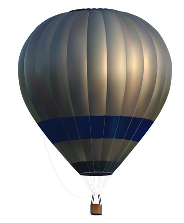 levitation: realistic hot air balloon on white background