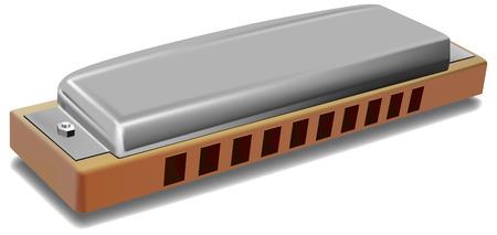 Vektor-Foto realistische Mundharmonika auf weißem Hintergrund