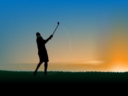 Vector Silhouette der ein Golfer, die perfekte Schwung in den Sonnenuntergang zu tun  Illustration