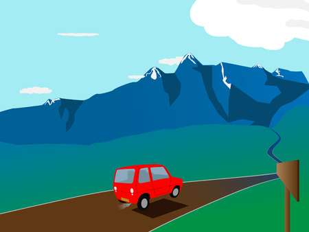 snow road: vector cartoon red car on the road