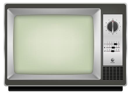 old technology: annata realistico tv su sfondo bianco