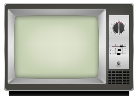 realistic vintage tv on white background Ilustrace