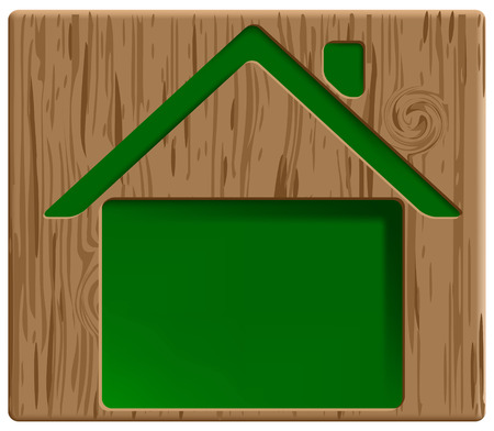 healthy green house icon carved in wood Stock Vector - 6882932