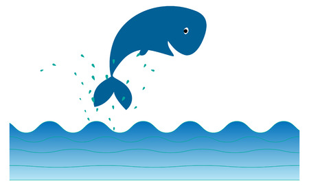 cute whale icon jumping out of water Vector
