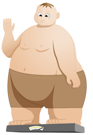 himself: illustration of fat man weighing himself Illustration