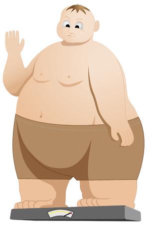 fat man: Ilustraci�n del hombre gordo, con un peso propio