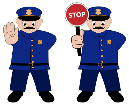 signal stop: policeman illustration on white background Illustration