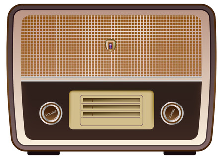 fm radio: realistic vintage radio on white background Illustration