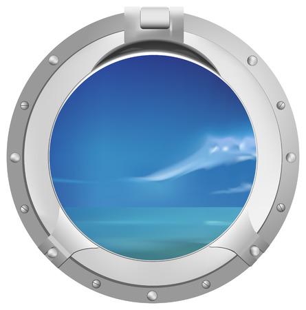 schöne Aussicht durch Schiff Fenster Illustration